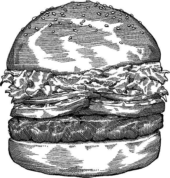 Hamburger Drawing Hand drawn hamburger in black and white - vector illustrtation cheeseburger stock illustrations