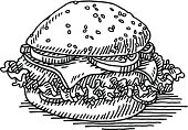 Hand-drawn vector drawing of a Hamburger, Fast Food. Black-and-White sketch on a transparent background (.eps-file). Included files are EPS (v10) and Hi-Res JPG.
