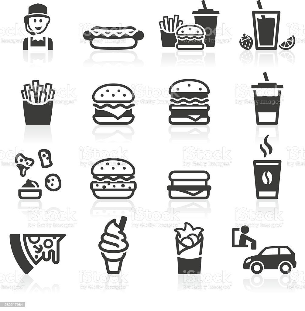 Hamburger Fast Food Icons - ilustración de arte vectorial