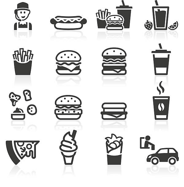 Hamburger Fast Food Icons Fast food and drink icons. Layered and grouped for ease of use. french fries stock illustrations