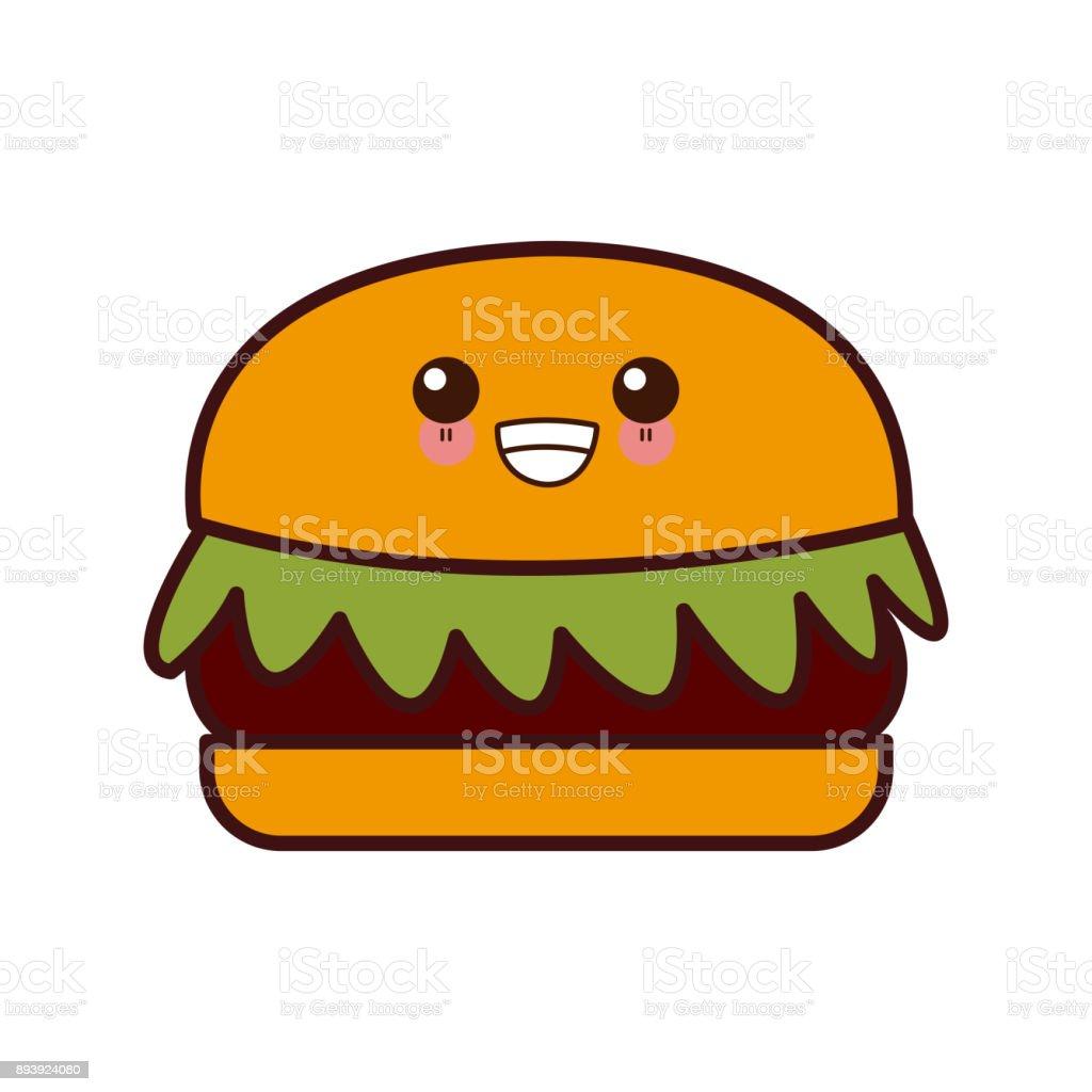 Ilustración De Hamburguesa Comida Rápida Kawaii Cute Dibujos