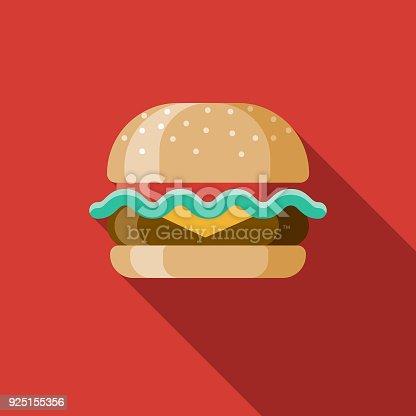 istock Hamburger Flat Design USA Icon with Side Shadow 925155356