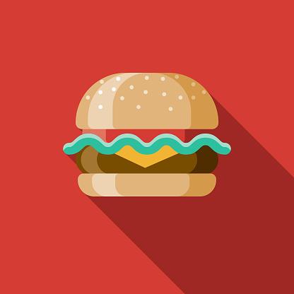 Hamburger Flat Design USA Icon with Side Shadow