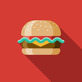 Hamburger Flat Design USA Icon with Side Shadow