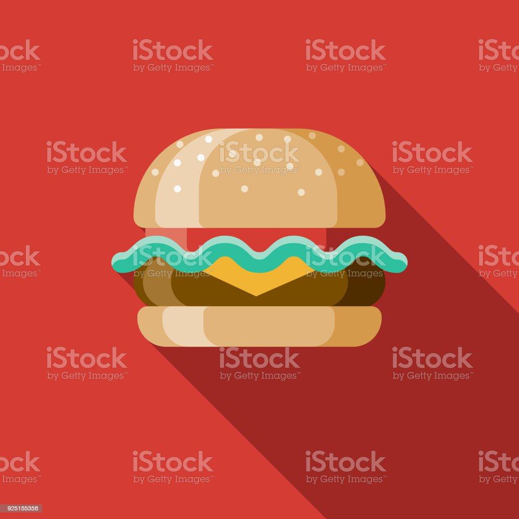 Hamburger Design plat Unis Icon avec côté ombre - Illustration vectorielle