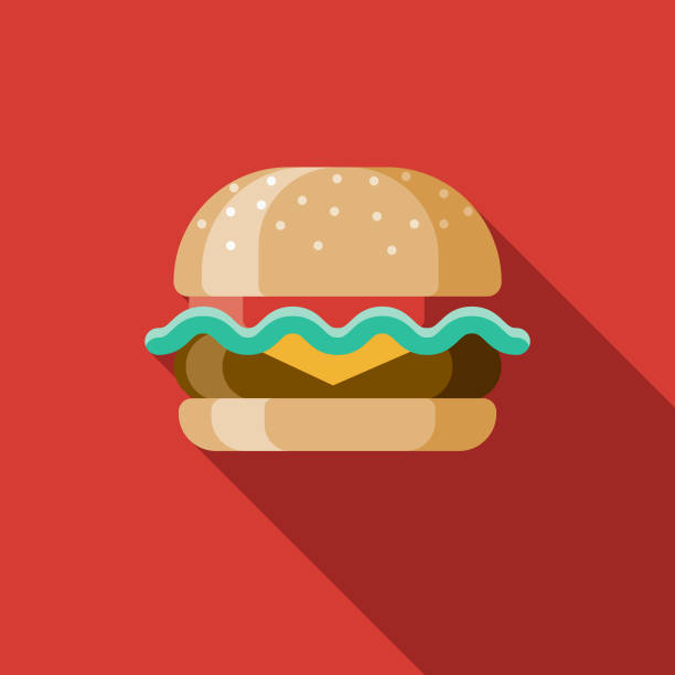 Hamburger Flat Design USA Icon with Side Shadow A pastel colored flat design United States of America icon with a long side shadow. Color swatches are global so it's easy to edit and change the colors. bread clipart stock illustrations