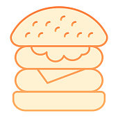 Hamburger flat icon. Fast food orange icons in trendy flat style. Burger gradient style design, designed for web and app. Eps 10