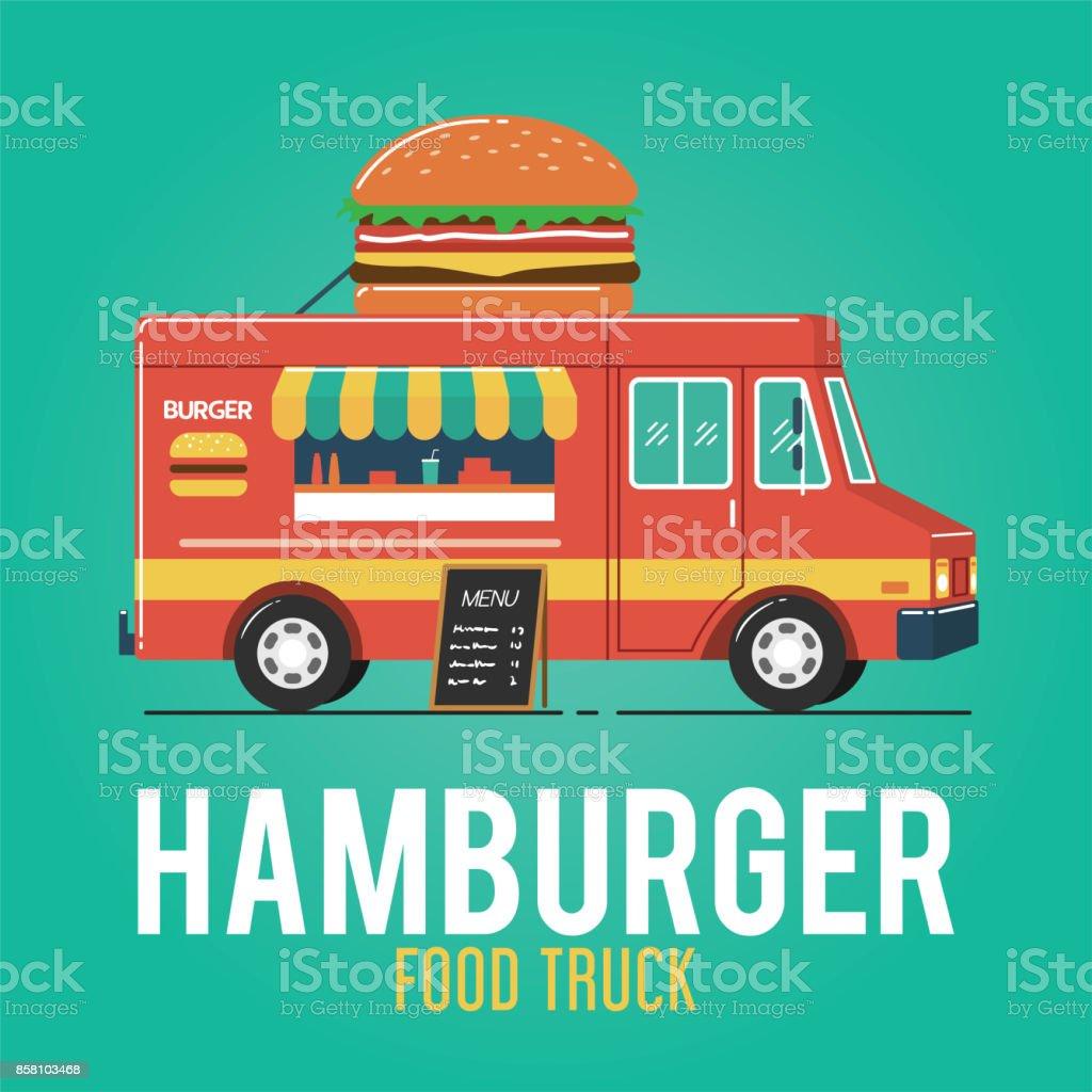 Hamburger Food Truck vector art illustration