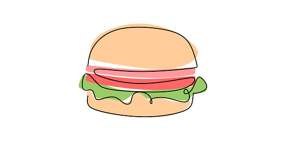 Hamburger hand drawn in one line on a white background. Sandwich cheeseburger hamburger line drawing of the silhouette. Fast food cafe menu and restaurant concept. Modern design street food logotype