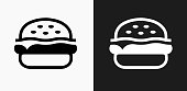 istock Hamburger Icon on Black and White Vector Backgrounds 814564228