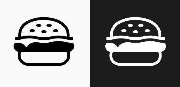 hamburger icon on black and white vector backgrounds - burgers stock illustrations, clip art, cartoons, & icons