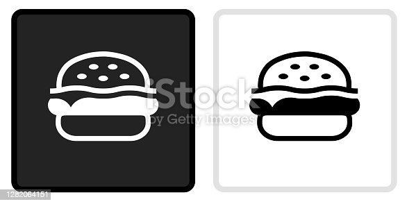 Hamburger  Icon on  Black Button with White Rollover. This vector icon has two  variations. The first one on the left is dark gray with a black border and the second button on the right is white with a light gray border. The buttons are identical in size and will work perfectly as a roll-over combination.