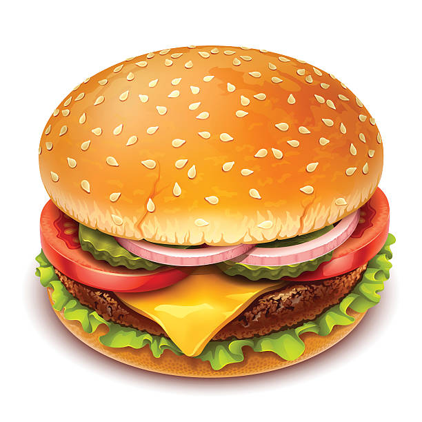 гамбургер значок - cheeseburger stock illustrations
