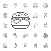 hamburger icon vector on the white background. Simple Set of FAST FOOD Vector Line Icons.