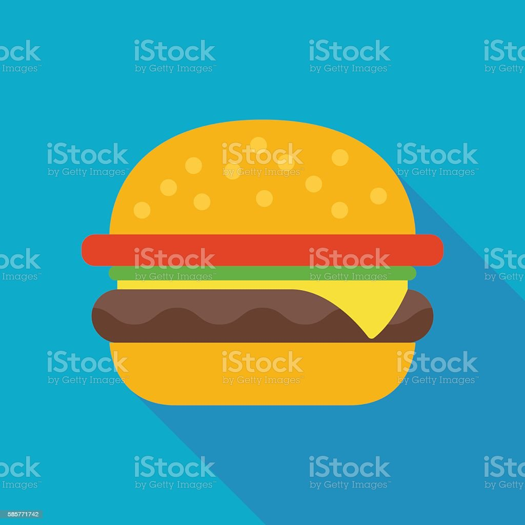 hamburger icon with long shadow. flat style vector illustration - Illustration vectorielle