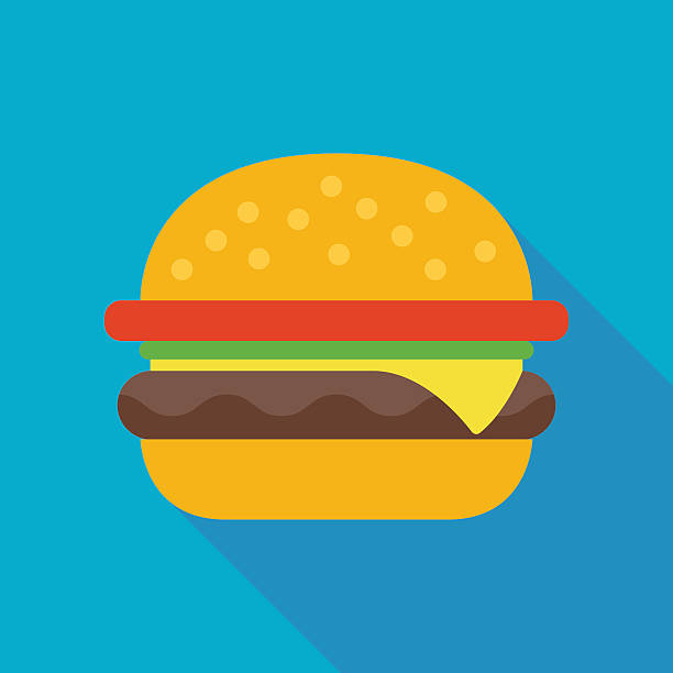 ilustrações, clipart, desenhos animados e ícones de hamburger icon with long shadow. flat style vector illustration - burger