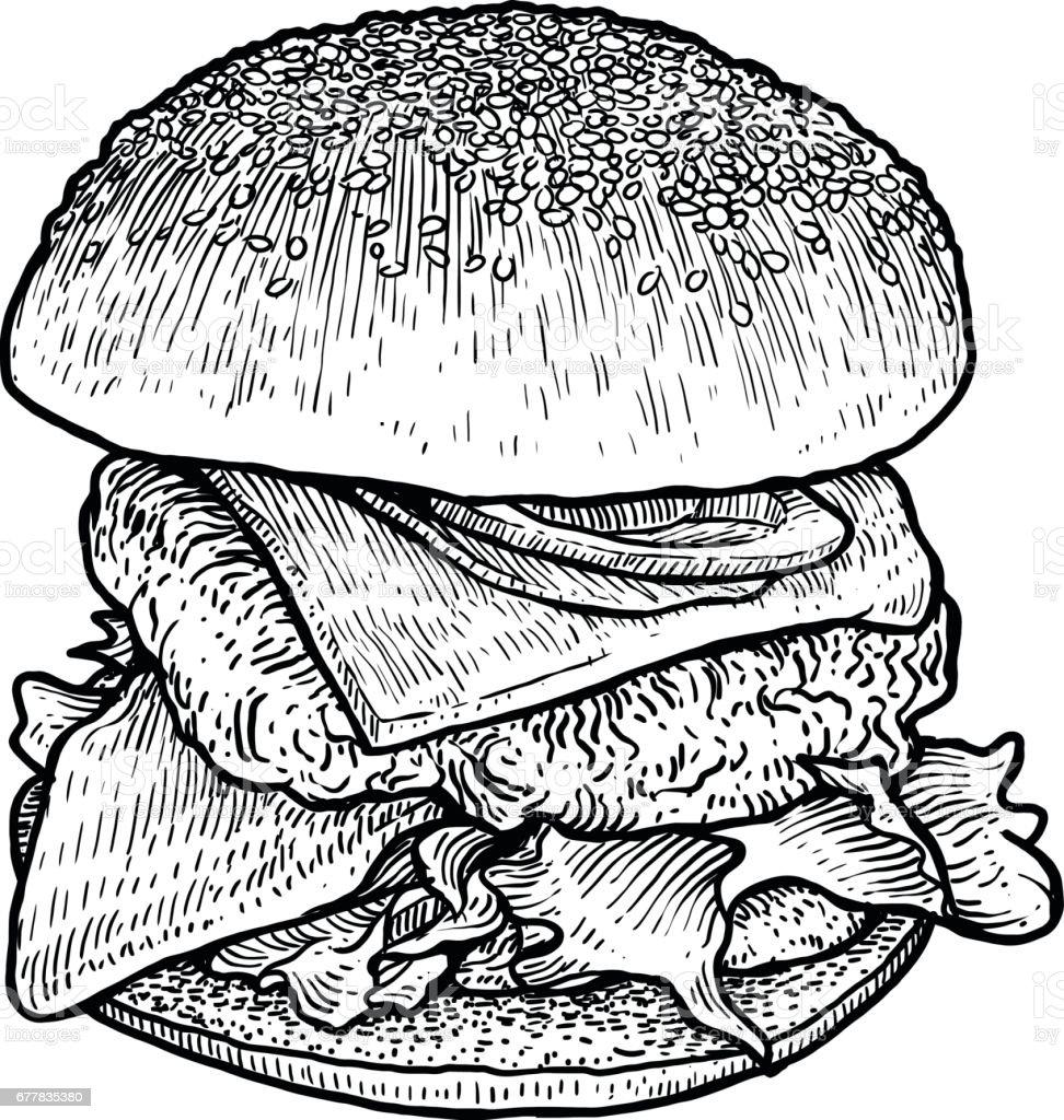 Ilustração de hambúrguer, desenho, gravura, tinta, linha artística, vetor - ilustração de arte em vetor