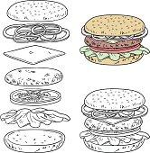 Hamburger ingredients in line art style