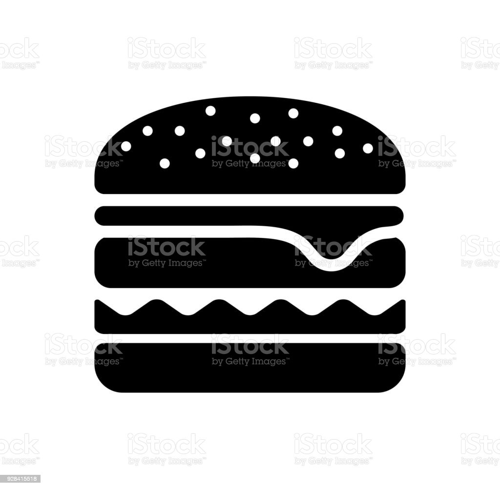 Hamburger / icône de nourriture d'ordure - Illustration vectorielle