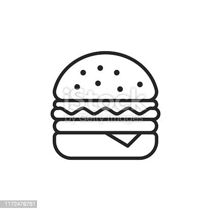 Hamburger Outline Icon with Editable Stroke.