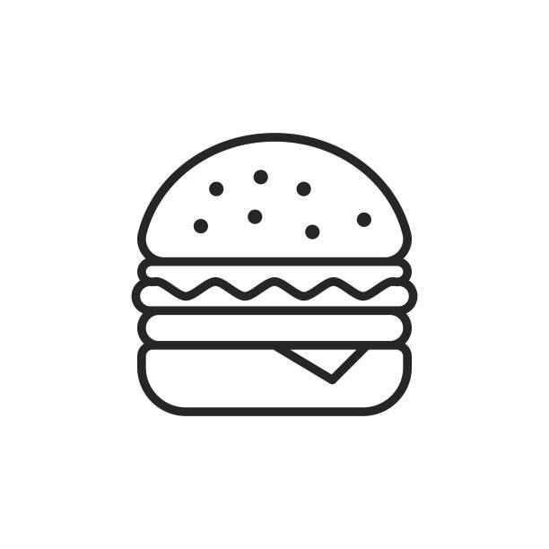 illustrazioni stock, clip art, cartoni animati e icone di tendenza di icona della linea hamburger. tratto modificabile. pixel perfetto. per dispositivi mobili e web. - hamburger