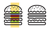 One continuous line drawing hamburger. Files included: Vector EPS 10, HD JPEG 5000 x 3000 px