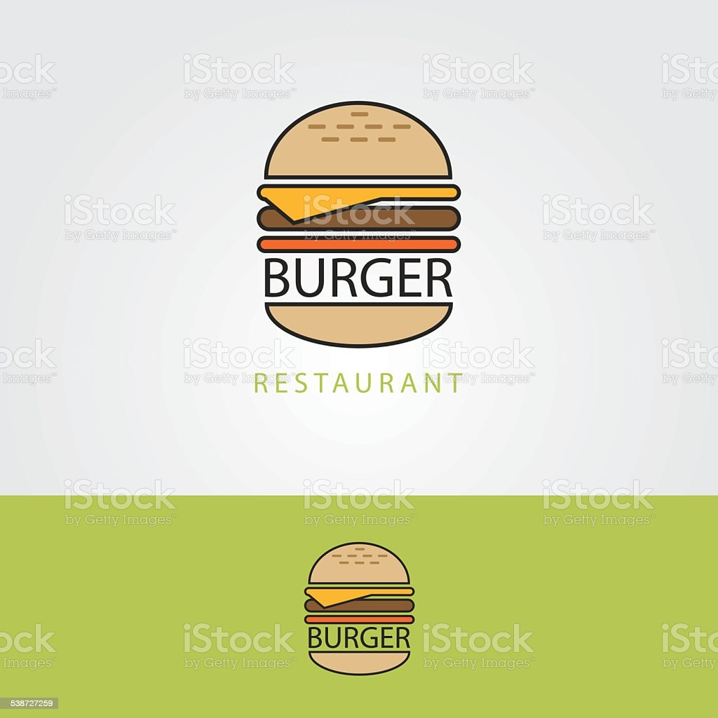 hamburger modern thin line art logo icon for restaurant business vector art illustration