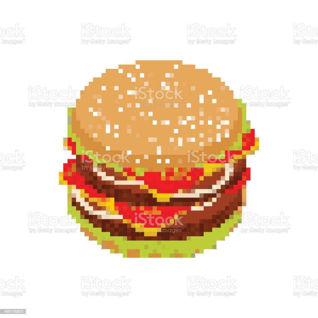 Hamburgerpixelart Pixelig Fastfood Isoliert Auf Weißem Hintergrund