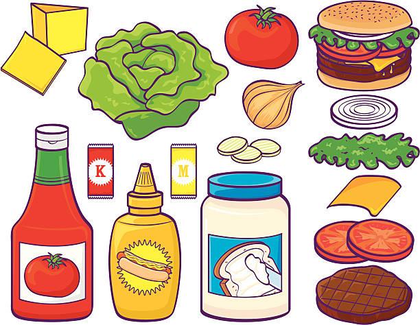 hamburger-set - dressing stock-grafiken, -clipart, -cartoons und -symbole