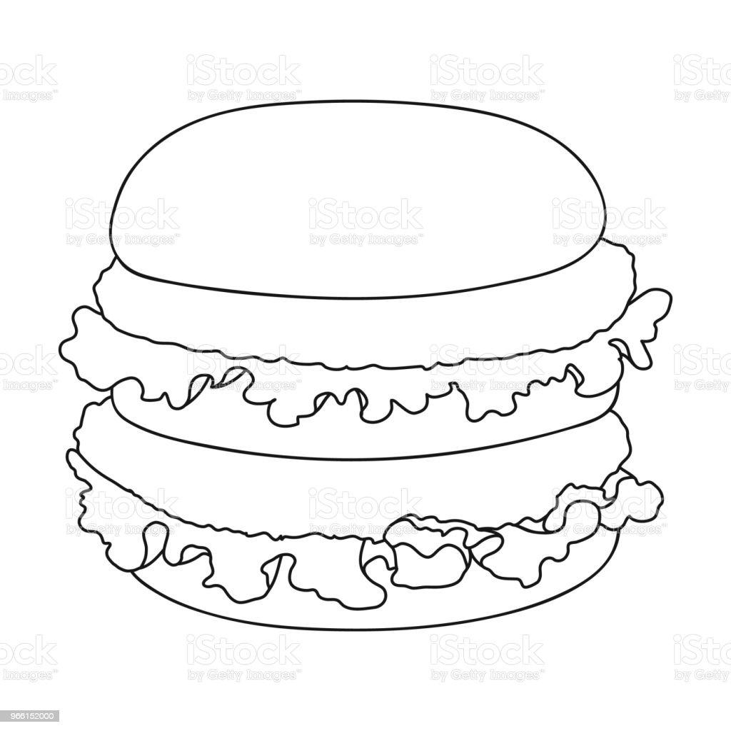Hamburguesa, icono solo en el estilo de contorno. Hamburguesa vector símbolo stock ilustración web. - arte vectorial de Alimento libre de derechos