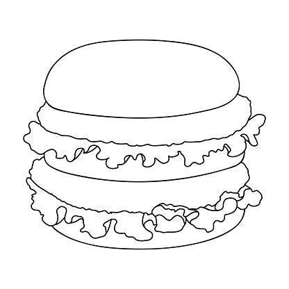 Ilustración de Hamburguesa Icono Solo En El Estilo De Contorno Hamburguesa Vector Símbolo Stock Ilustración Web y más Vectores Libres de Derechos de Alimento