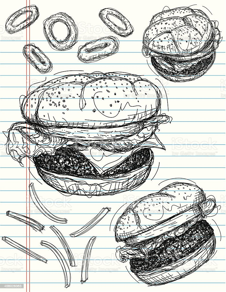 Hamburger sketches royalty-free stock vector art