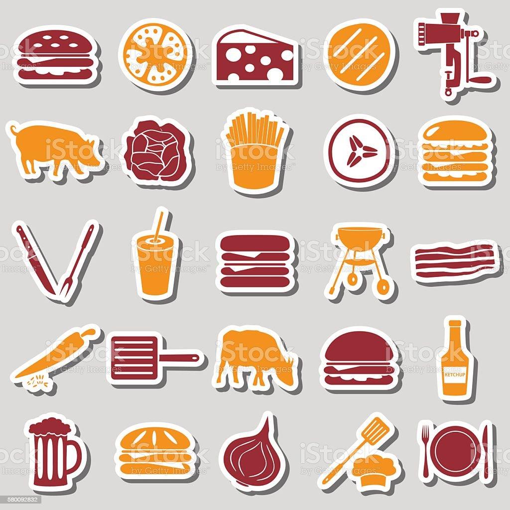 hamburger theme modern simple icons color stickers eps10 アイコン