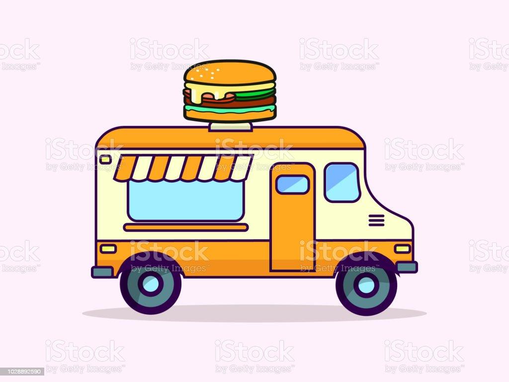 Camion De Hamburger Illustration De Vecteur De Dessin Animé