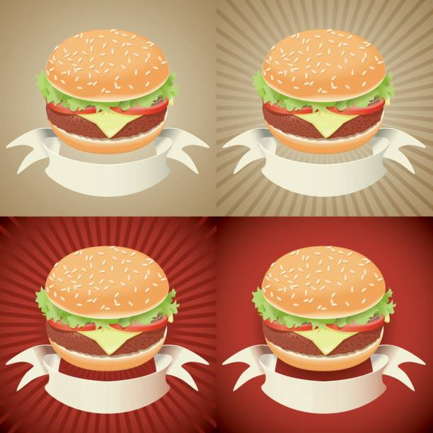 stockillustraties, clipart, cartoons en iconen met hamburger with banner - bargerecht