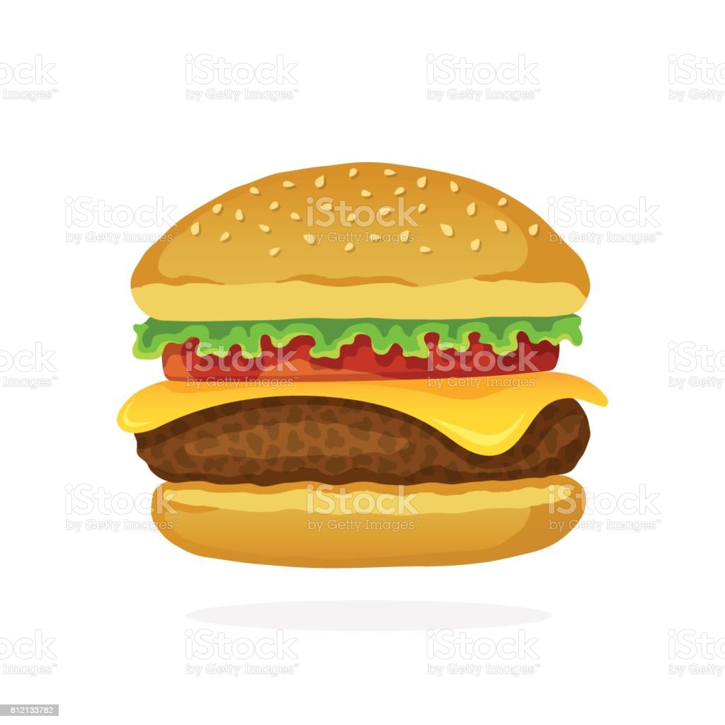 Hamburger au fromage, tomate et salade - Illustration vectorielle