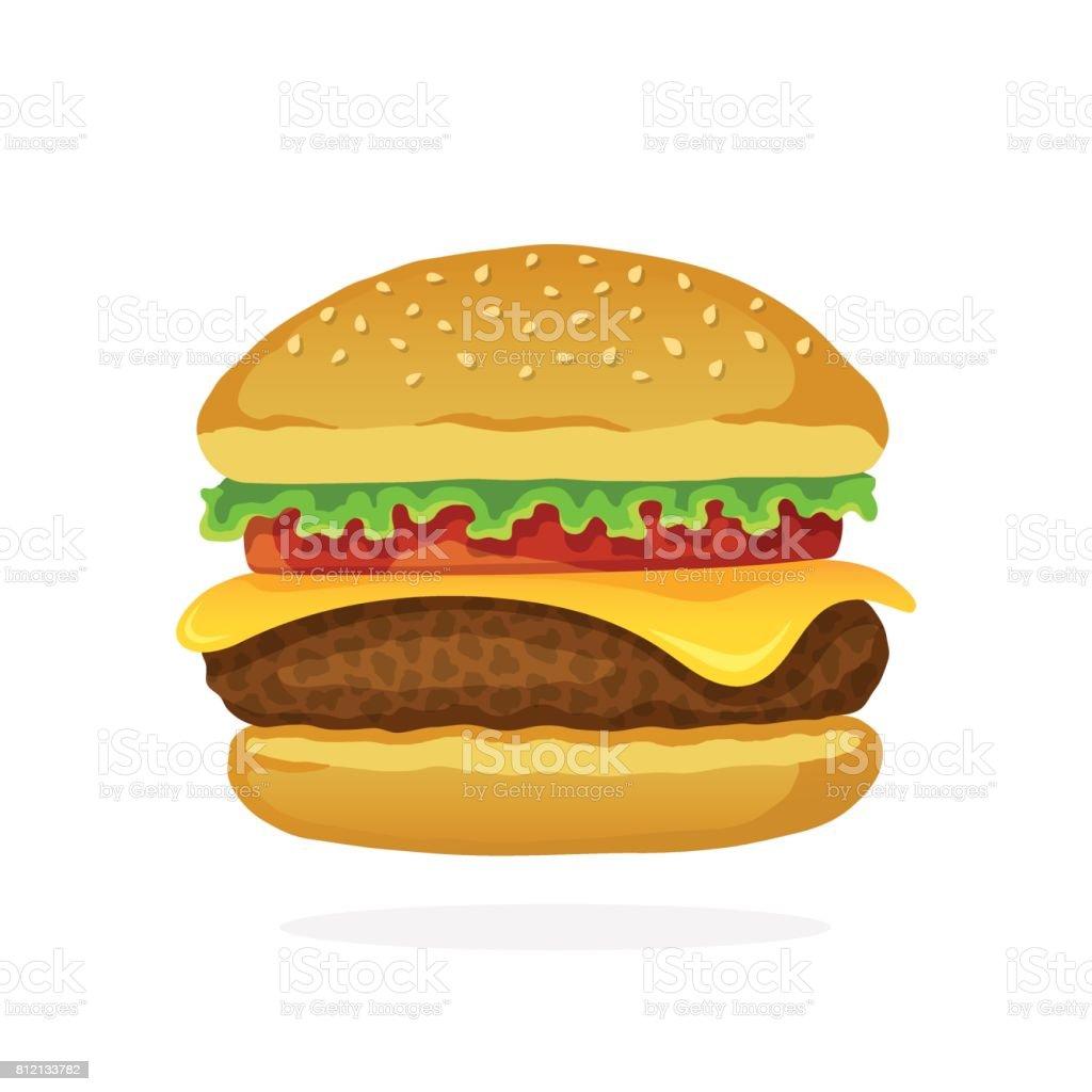 Hamburger with cheese, tomato and salad vector art illustration