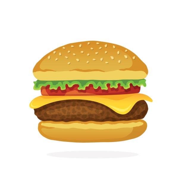 hamburger with cheese, tomato and salad - cheeseburger stock illustrations