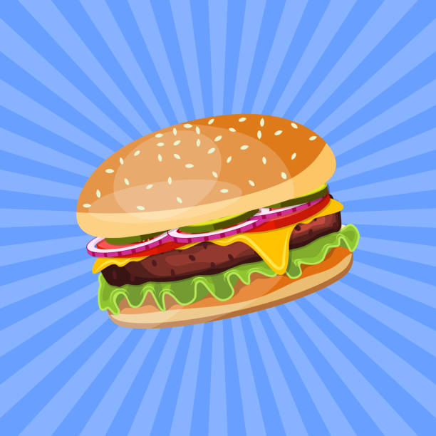 Hamburger with cheese, tomato and salad. Hamburger with cheese, tomato and salad. Unhealthy food. Decoration for patches, prints for clothes, badges, posters, emblems, menus. Vector illustration in flat style cheeseburger stock illustrations