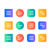 The set of hamburger menu buttons with the gradient colors. Different forms for ui mobile and web design.