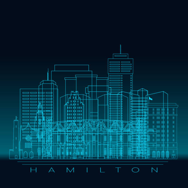 Hamilton skyline silhouette. Blue linear style. Modern vector illustration. Hamilton skyline silhouette. Blue linear style. Modern vector illustration. mississauga stock illustrations