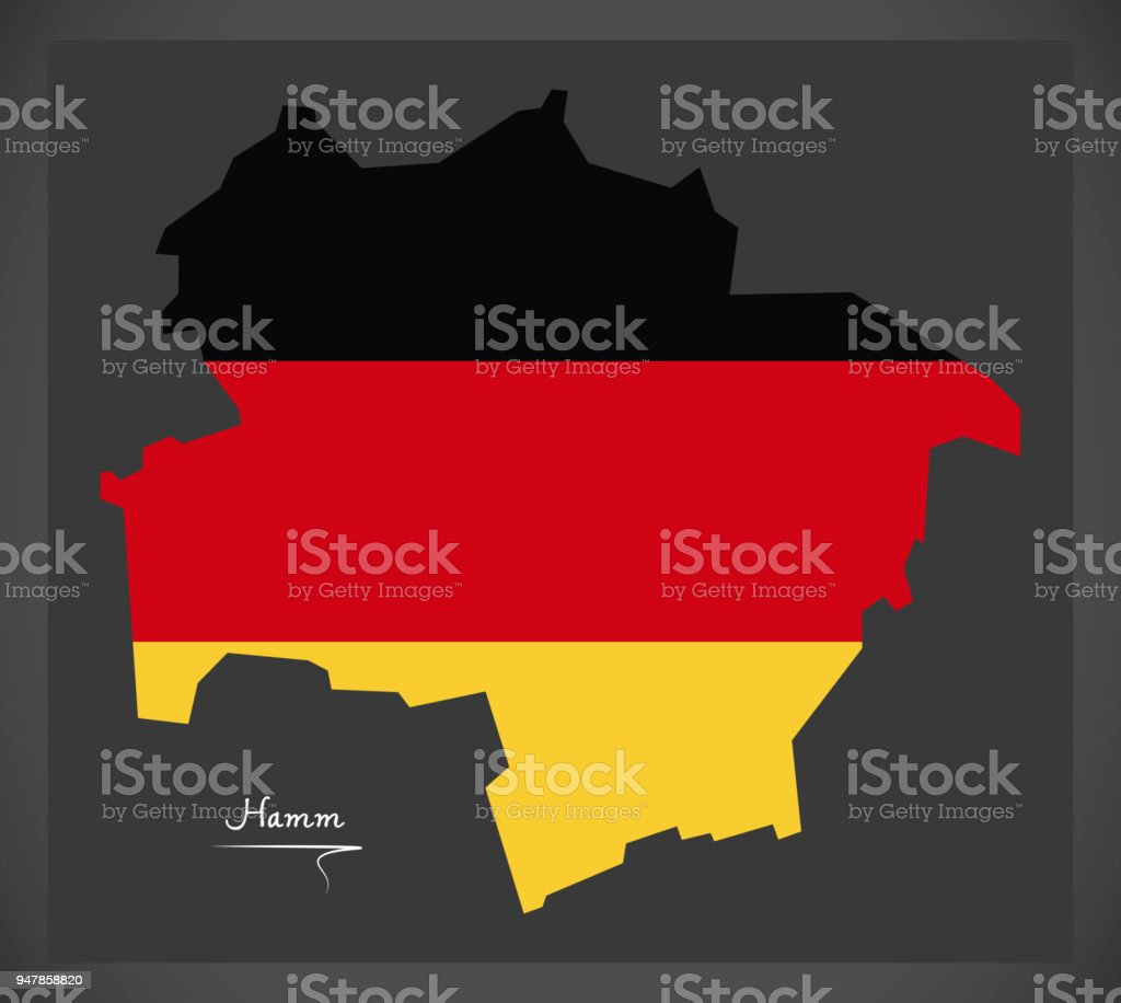 Hamm map with German national flag illustration vector art illustration