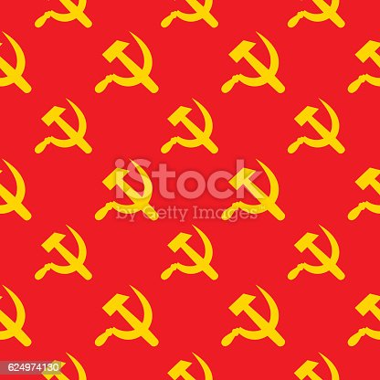 Vector seamless pattern of gold hammer and cycles and a red background.