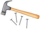 Hammer and nails isolated illustration
