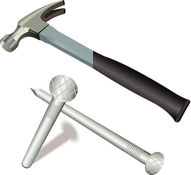 hammer und nägel - nagelspitze stock-grafiken, -clipart, -cartoons und -symbole