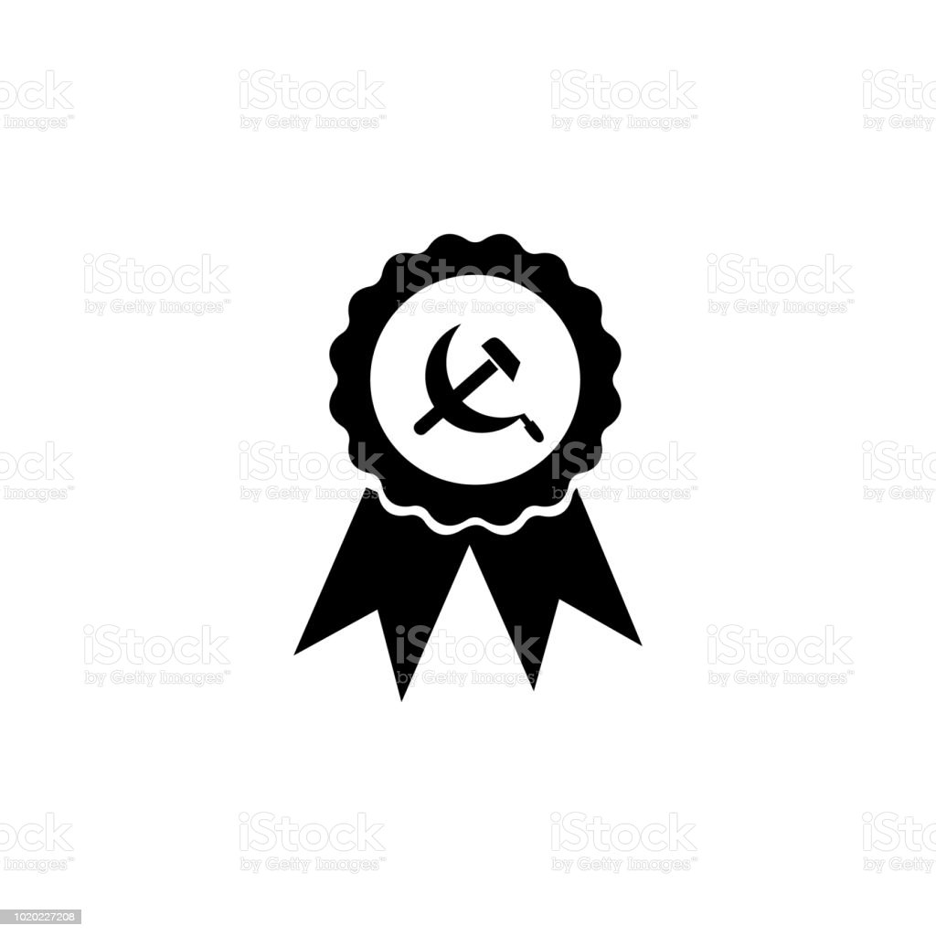 Hammer And Sickle Medal Icon Element Of Communism Illustration