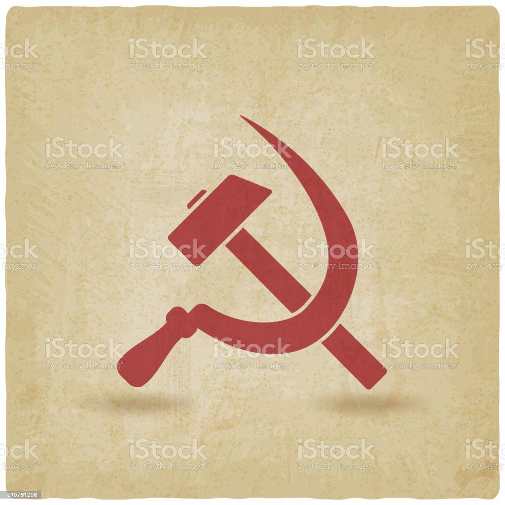 hammer and sickle symbol old background vector art illustration
