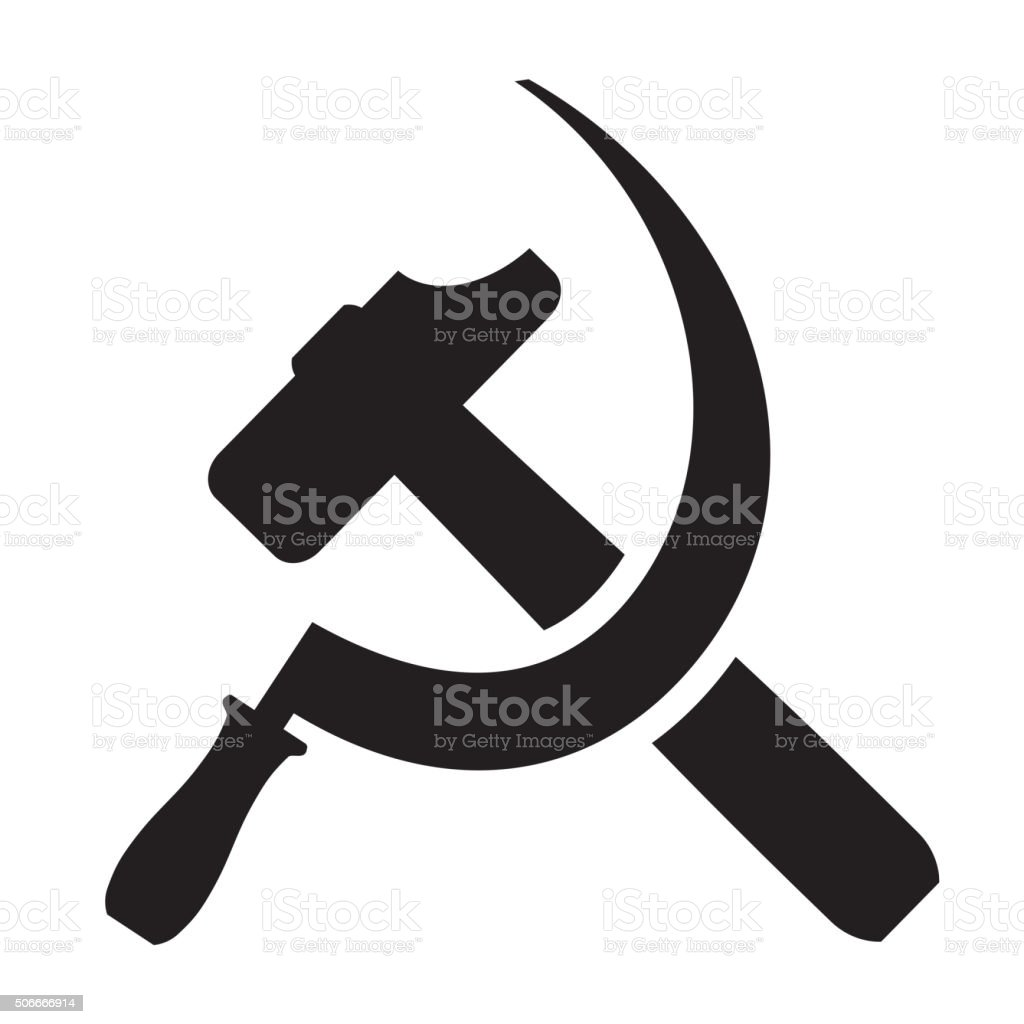 hammer and sickle vector art illustration