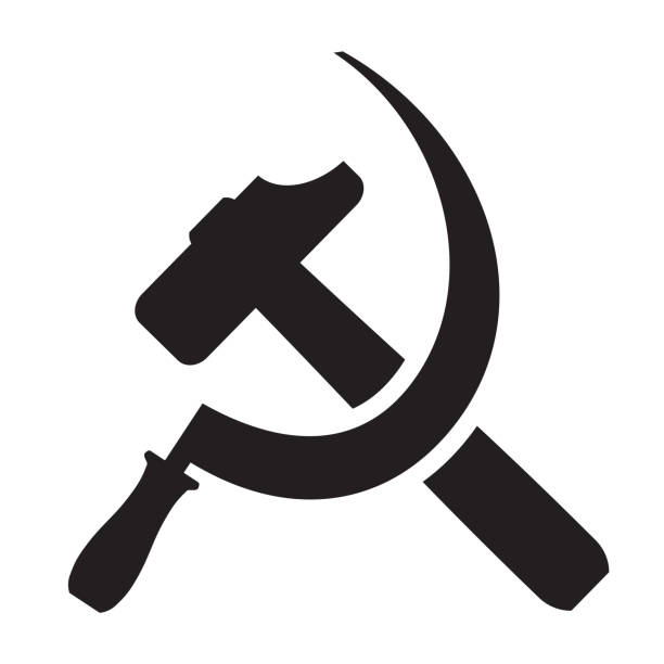 hammer and sickle - russian flag stock illustrations, clip art, cartoons, & icons