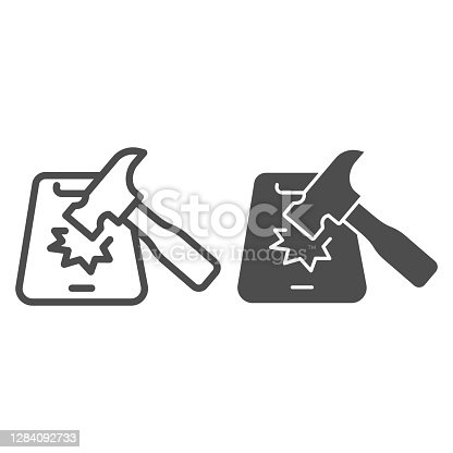 Hammer and smartphone line and solid icon, smartphone review concept, hammer hits mobile sign on white background, hammer breaks phone icon in outline style for mobile concept. Vector graphics